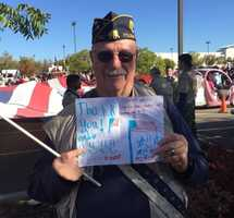 At the Wayne Spence Folsom Veterans Day Parade, veteran Chris Christianson was choked up as he displayed this card from a child, noting that veterans are grateful, too.
