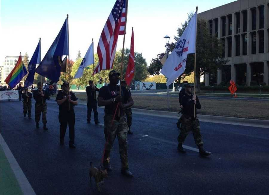Hundreds of people gathered along Capitol Mall in downtown Sacramento to honor military veterans for the Fifth annual Veterans Day Parade. (Nov. 11, 2015)