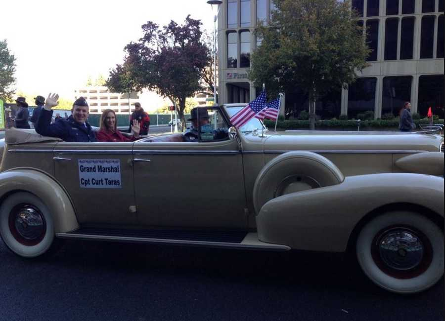 The grand marshal of Sacramento's Veterans Day Parade was Captain Curt Taras, of Folsom. (Nov. 11, 2015)