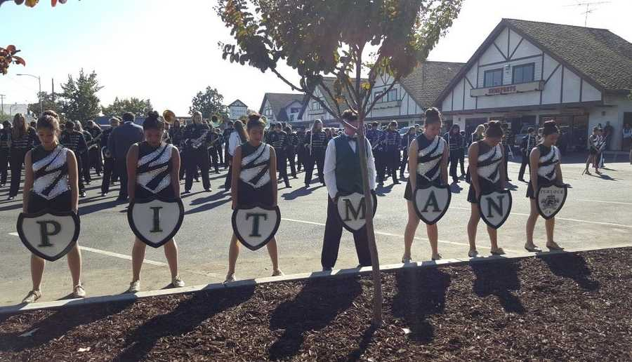 The Pitman High School marching band prepared for the start of the canon dedication ceremony in Turlock. (Nov. 11, 2015)