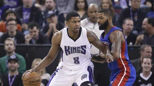 Sacramento Kings forward Rudy Gay, left, works against Detroit Pistons forward Marcus Morris during the first quarter of an NBA basketball game in Sacramento, Calif., Wednesday, Nov. 11, 2015.