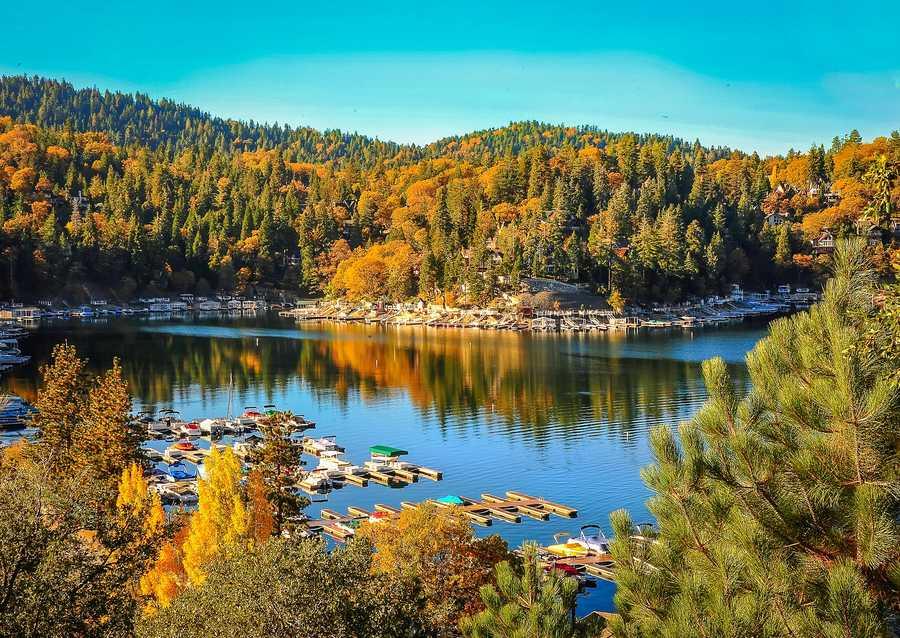 Lake Arrowhead nestled in the San Bernardino Mountains.