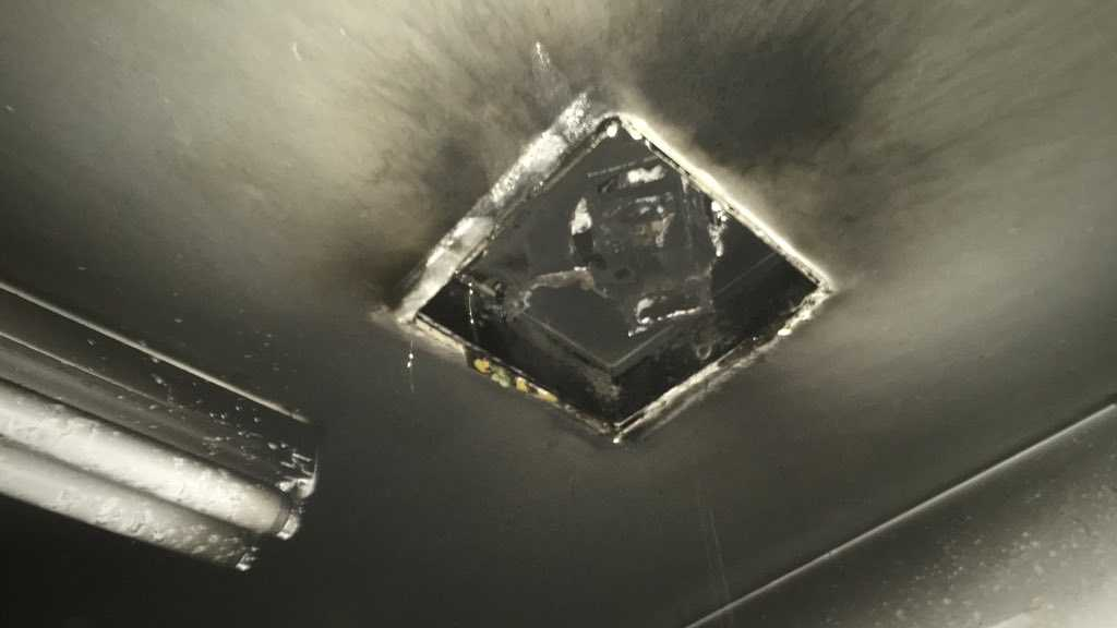 A fan in a Sunrise Mall service area bathroom caught fire on Thursday, Nov. 12, 2015, the Sacramento Metro Fire Department said.