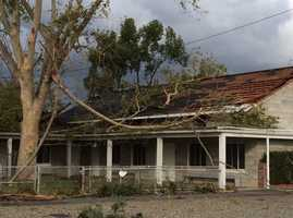 A funnel cloud that moved through Denair on Sunday, Nov. 15, 2015 downed trees on a church as it moved east out of the city, the Stanislaus Sheriff's Department said.