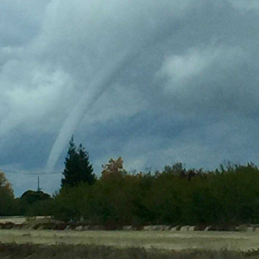 A tornado caused damage in Denair on Sunday, Nov. 15, 2015. Check out photos shared by KCRA viewers. Photo of funnel cloud taken by Linda Gomez on Sunday, Nov. 15. 2015.