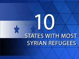 A total of 2,010 Syrian refugees have come to the U.S. since November 2012. Take a look at the 10 U.S. states with the most Syrian refugee arrivals since that time. Data provided by the Department of State.