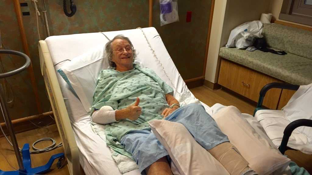 Carol Blake smiles and gives a thumbs up from her hospital bed on Monday, Nov. 23, 2015. She broke her leg while hiking in Nevada County during the weekend.