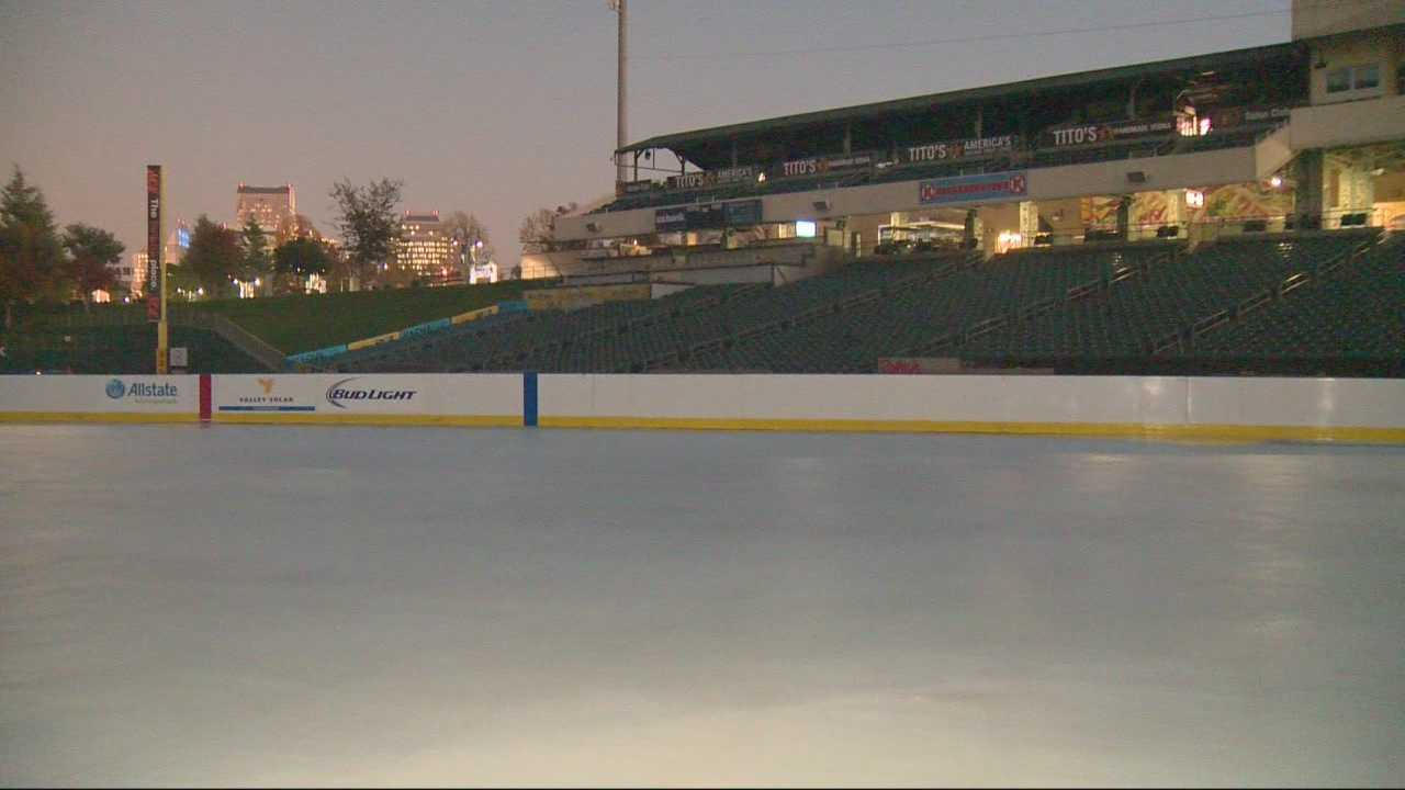 The opening of the Raley Field ice rink was delayed because organizers can't keep the ice from melting. One of the chillers went down, making it hard to keep the ice frozen.