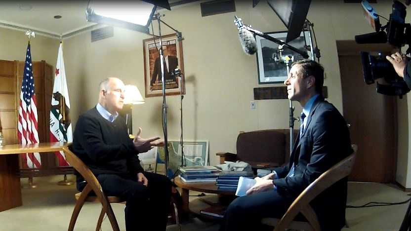 Gov. Jerry Brown discusses his upcoming to trip to Paris with KCRA 3's David Bienick at the State Capitol on Tuesday.