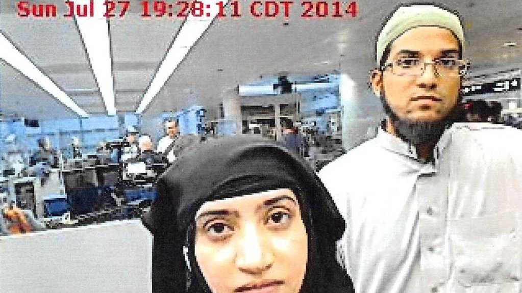 A photo of Tashfeen Malik and Syed Farook arriving in the United States from Saudi Arabia was released Monday.