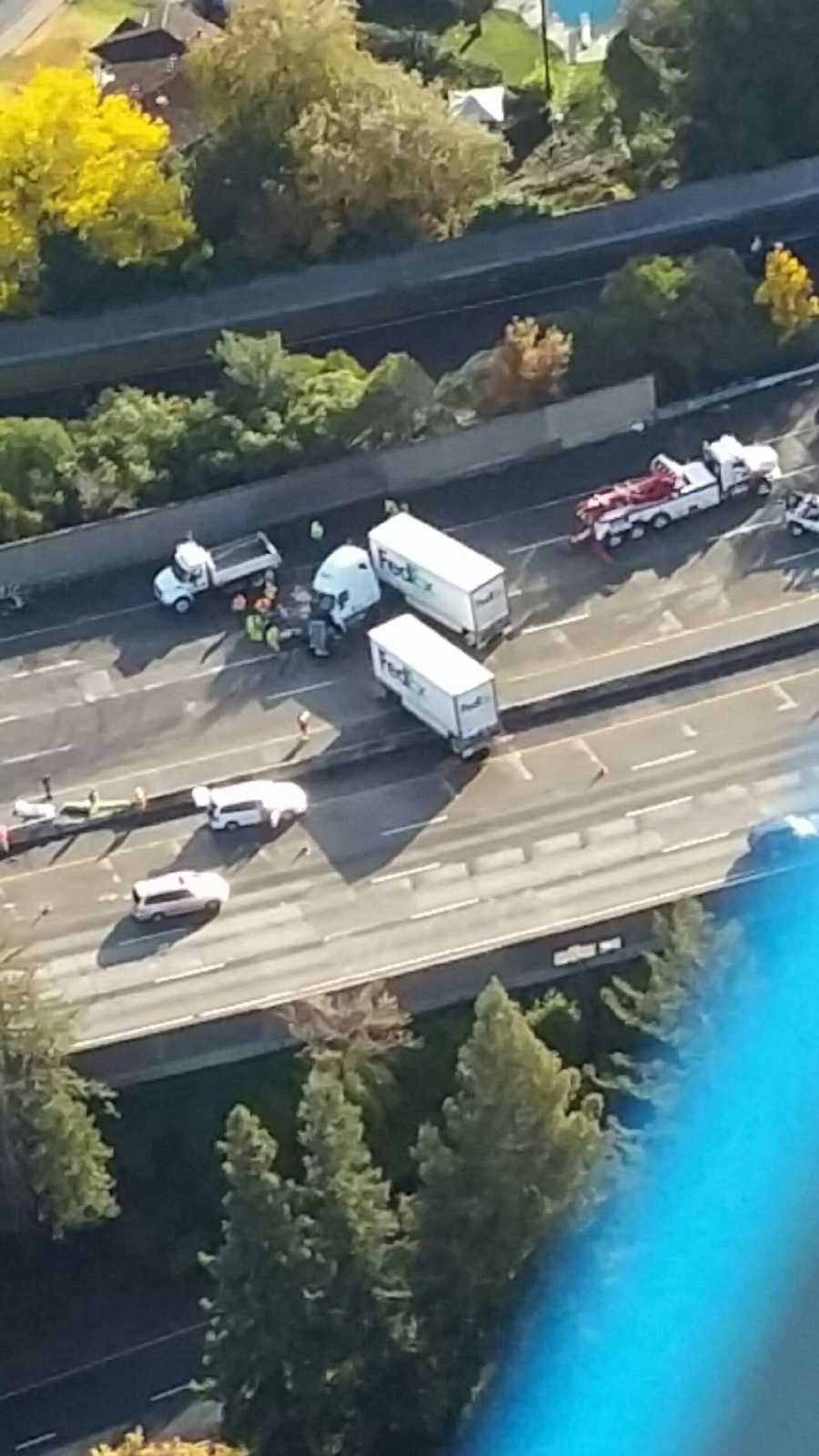 Lanes on Interstate 5 near Seamus Avenue in Sacramento were shut down for several hours Thursday because of a deadly crash involving a big rig. (Dec. 10, 2015)