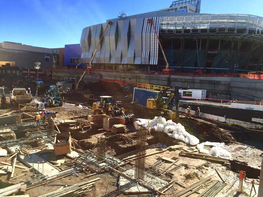 Here's a view from the outside of the Golden 1 Center, looking from J Street.