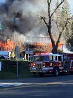 Cal Fire crews battling blaze at Sierra Nevada House on Monday, Dec. 14, 2015.