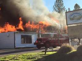 Flames spread quickly on the second floor of the Sierra Nevada House on Monday, Dec. 14, 2015.