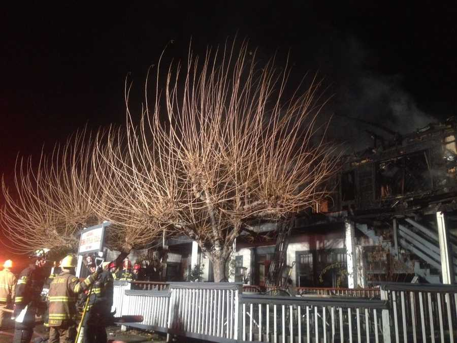 Cal Fire crews stayed through the night Monday, Dec. 14, 2015, at the historic Sierra Nevada House to keep an eye out for hot spots. A fire broke out at the restaurant/hotel earlier in the day.