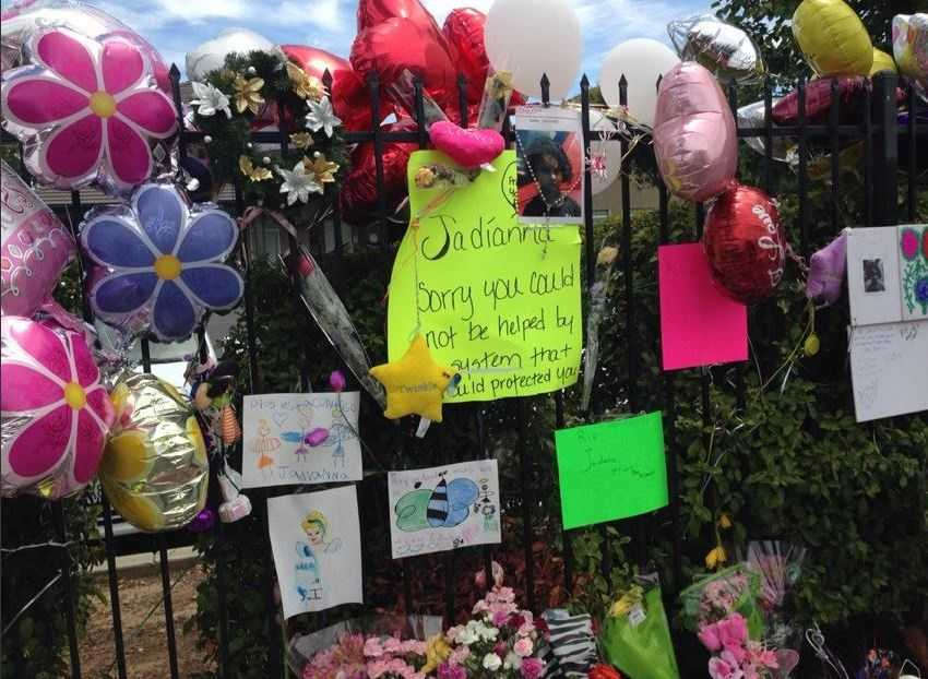 A memorial grew outside a Sacramento County apartment complex where 6-year-old Jadianna Larson lived with her mother. The little girl's burned body was found May 31 in a rural area of Glenn County after she had been missing for a few days.