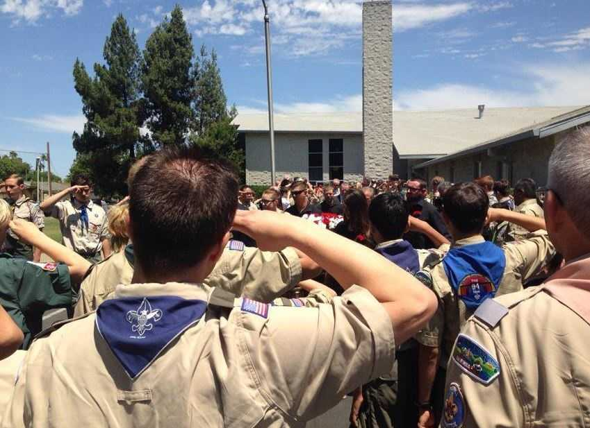 Thirteen-year-old Alden Brock, a Sacramento boy scout, was swept away by rushing waters at the Philmont Scout Ranch in northern New Mexico while on a weekend camping trip with his boy scout troop in June. Many fellow scouts gathered in Sacramento to say goodbye.