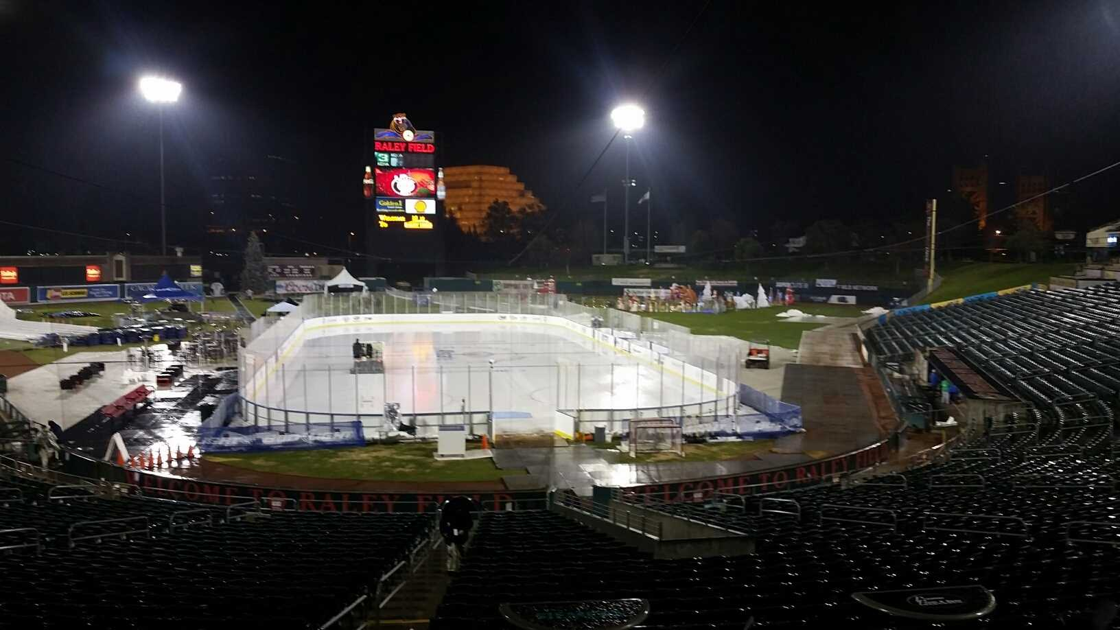 Water pooled onto the Raley Field ice rink on Friday, Dec. 18, 2015, after a rain storm moved through the Sacramento area.