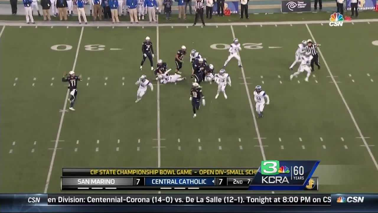 Central Catholic Raiders remains undefeated as they beat the San Marino Titans 56-21 Saturday evening at Sacramento States Hornet Stadium.