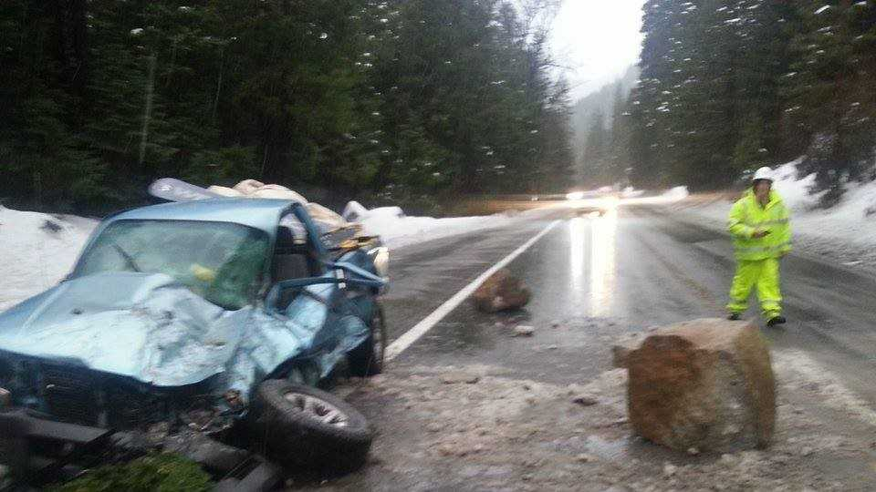 Large boulder held traffic on Hwy. 50 near Wright Lake Roads on Monday, Dec. 21, 2015.