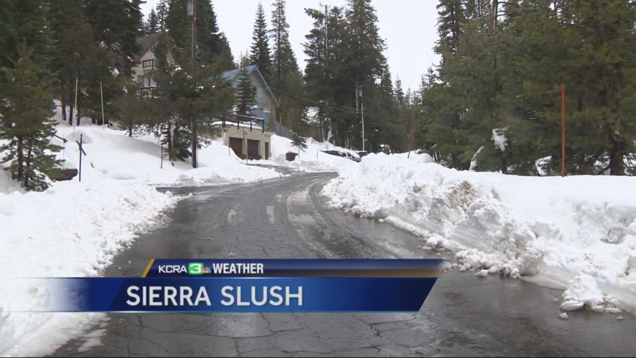 Slushy conditions from a recent storm in the high Sierra made it difficult for people traveling through the mountains on Tuesday.