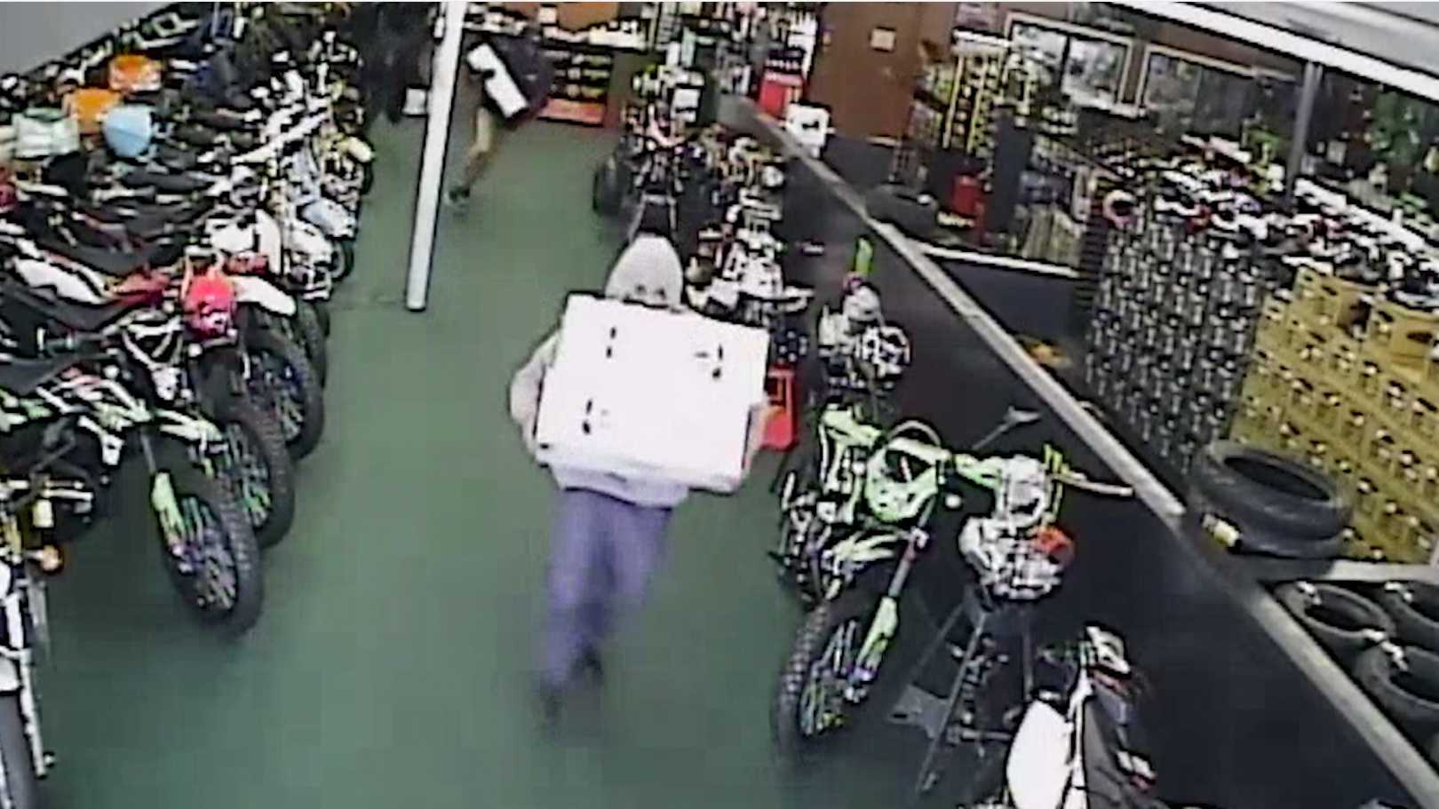 Surveillance video from ATV Wholesale Outlet in Sacramento recorded a hoverboard theft Sunday, Dec. 20, 2015, executed by a band of robbers.