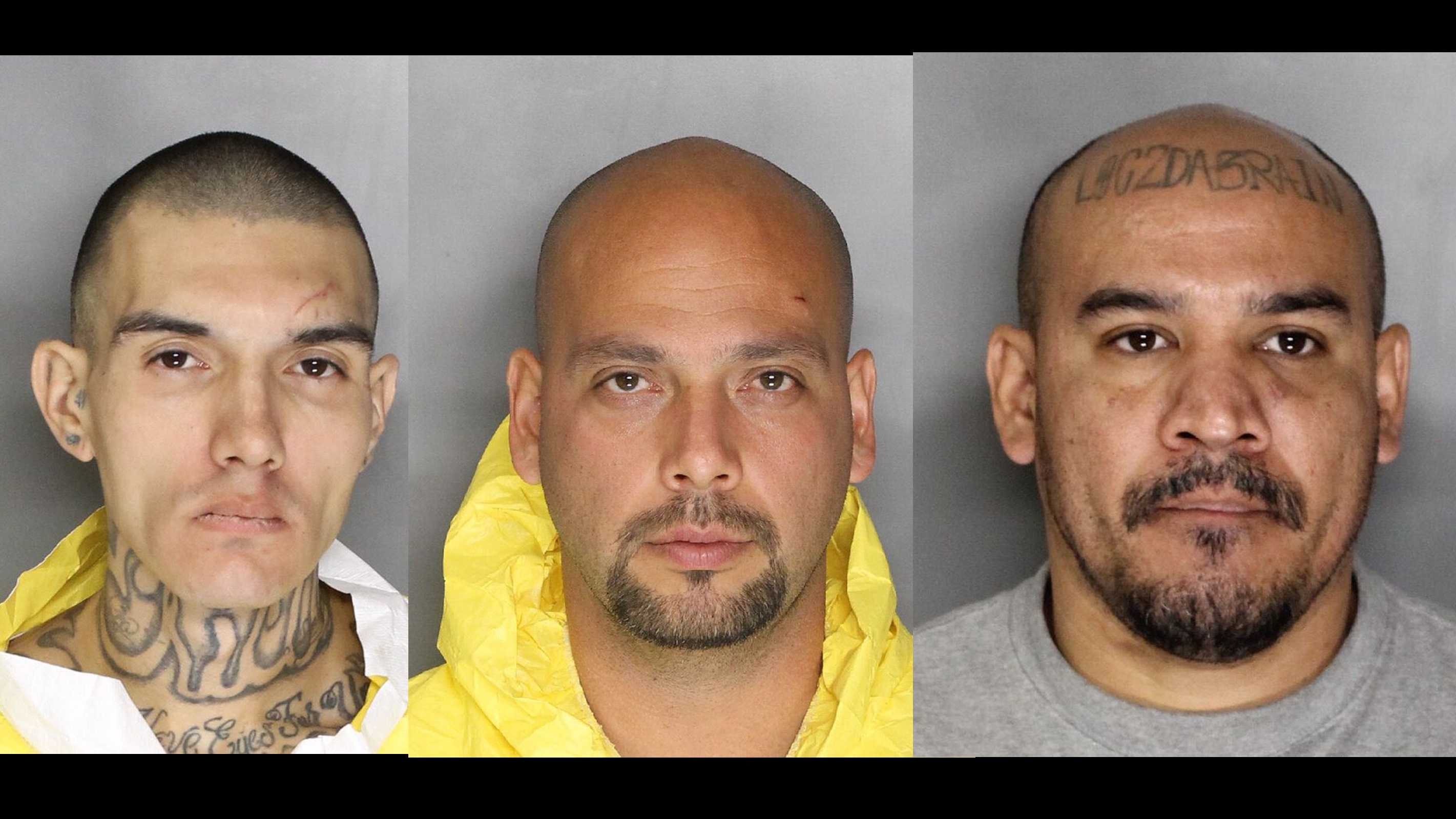 (Left to right) Kenneth Hopkins, 29, Jeremy Rosales, 36, and Benigno Duran, 35, were arrested in connection to a fatal stabbing outside a Sacramento apartment complex, the Sacramento Police Department said Wednesday, Dec. 23, 2015.