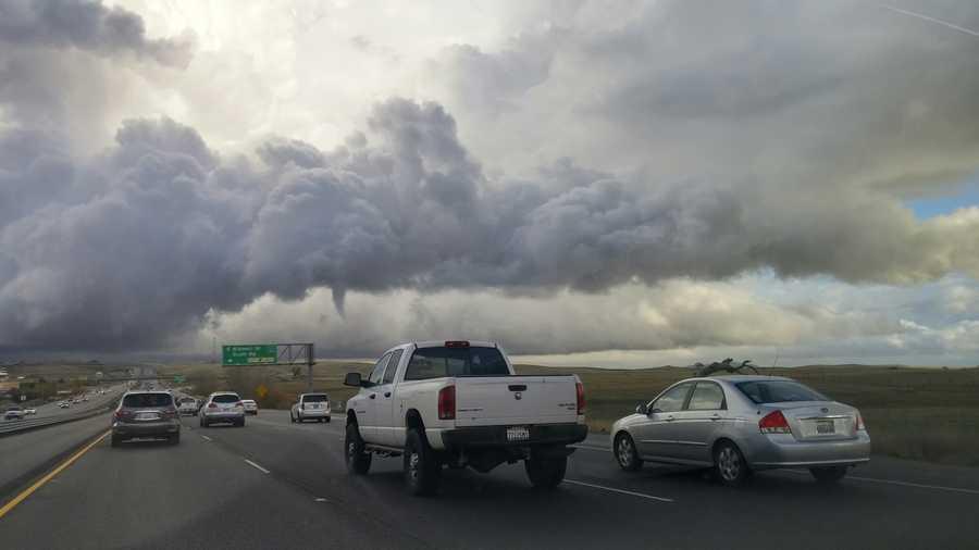 Funnel cloud seen over El Dorado County near E. Bidwell Street and Highway 50 on Thursday, Dec. 24, 2015.