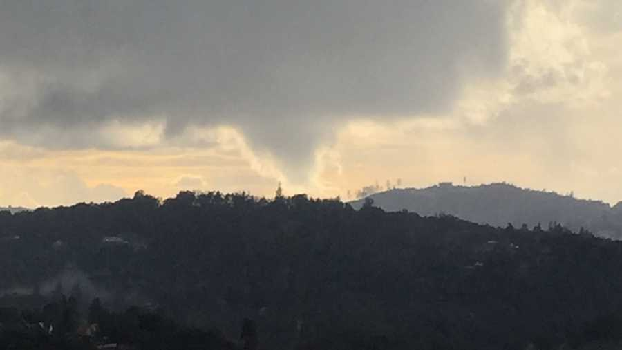 Funnel cloud seen from Rescue, California, on Thursday, Dec. 24, 2015.