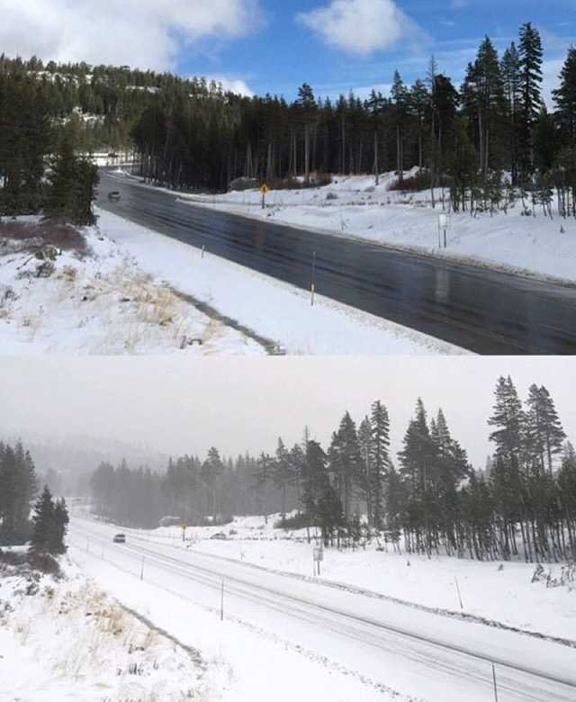 Conditions changed quickly today in the #Sierra. Here are two pics of the same spot in #SodaSprings at 1 p.m. and 3 p.m. What a difference! Gotta love the #freshpowder, though. Photos: David Bienick // #snow #storm #NorCal #kcrawx #KCRA #kcra3 #weather #blueskies #clouds #tahoe