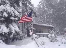 A #KCRA viewer sent us this picture from the snowy #Sierra. #Freshpowder covers the landscape, making for a breathtaking (and #patriotic) picture. // #kcrawx #tahoe #usa #america #snow #KCRA #KCRA3 #weather #norcal #mountains