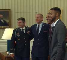 """Alek Skarlatos, Anthony Sadler and Spencer Stone, the three Sacramento men credited with thwarting a terrorist attack on a Paris-bound train, were honored today by President Obama at the White House. """"Because of their courage, because of their quick thinking and because of their teamwork, it's fair to say a lot of people were saved,"""" President Obama said. Good work, guys! Photo courtesy: @nbcnews // #sacramentoproud #hometownheroes #KCRA3 #sacnews #KCRA #americanheroes #sacnews #thankyou #sacramento"""