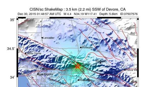 A magnitude-4.4 quake hit in foothills north of San Bernardino on Tuesday, Dec. 29, 2015.