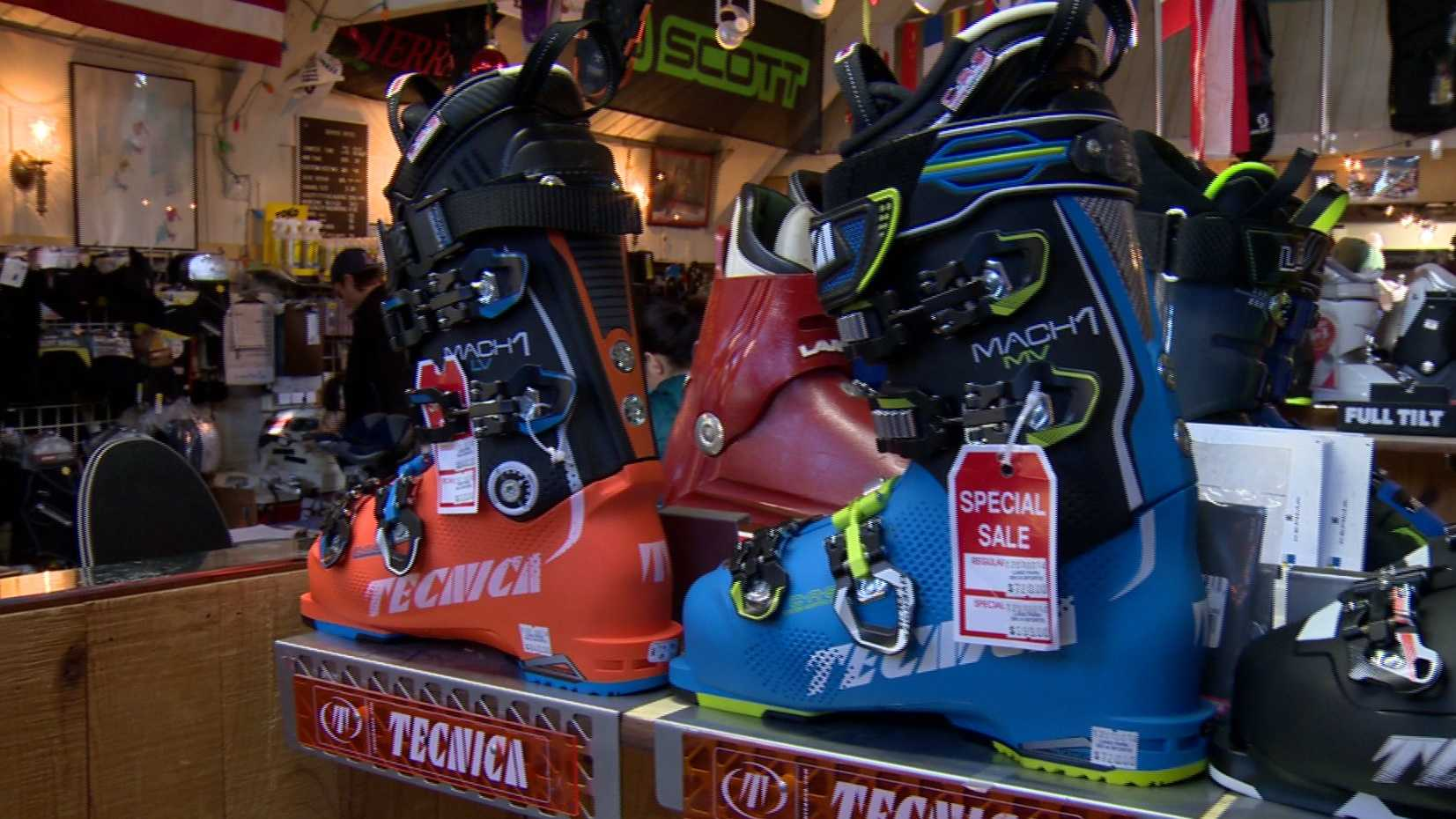 Stores stock up on skiing and snowboarding equipment as the winter sports season kicks off in the Sierra thanks to recent snow storms.