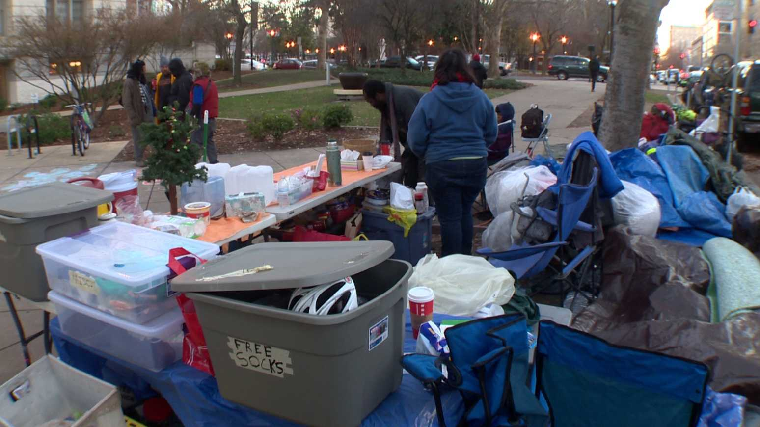 A homeless camp has been outside the Sacramento City Hall for more than 20 days. People at the camp said on Monday, Dec. 28, 2015, they are protesting the city's no camping ordinance.