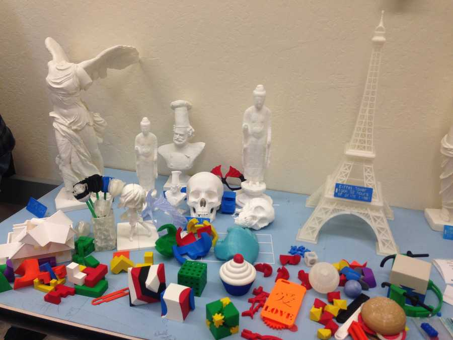 All the things on the table were created by a Sacramento Library of Things' 3D printer.