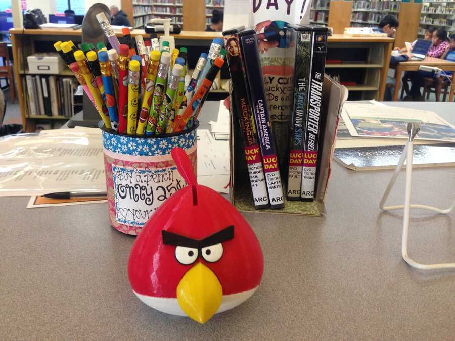This Angry Bird coin bank was by a Sacramento Library of Things' 3D printer.