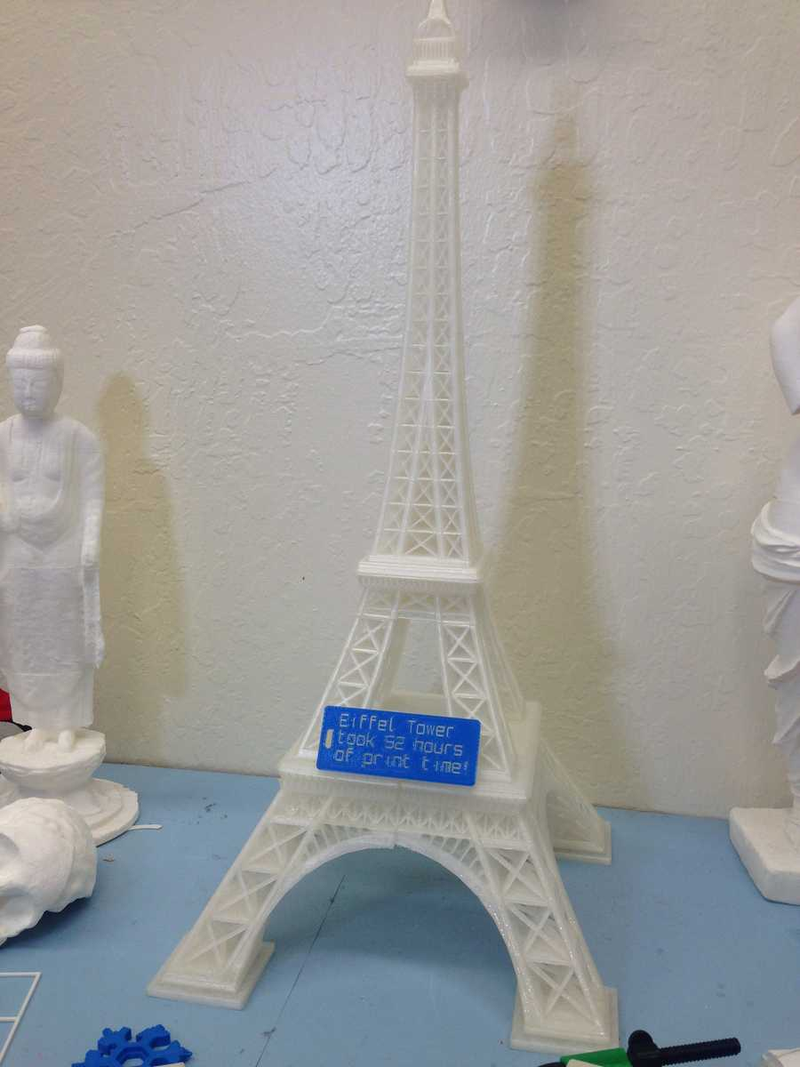 It took 52 hours to create this model of the Eiffel Tower using a Sacramento Library of Things' 3D printer.