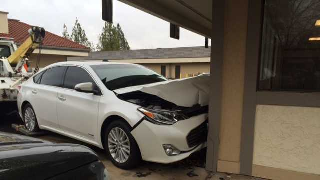 The driver lost control of his car and crashed into the wall of a Citrus Heights post office on Tuesday, Jan. 5, 2016.