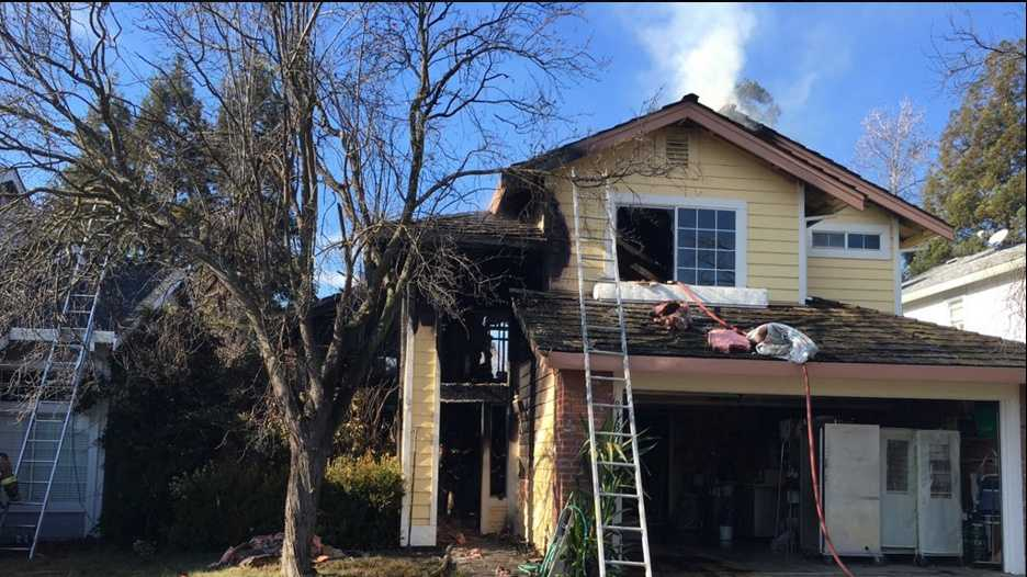 A home in Antelope sustained major damage to the second floor.