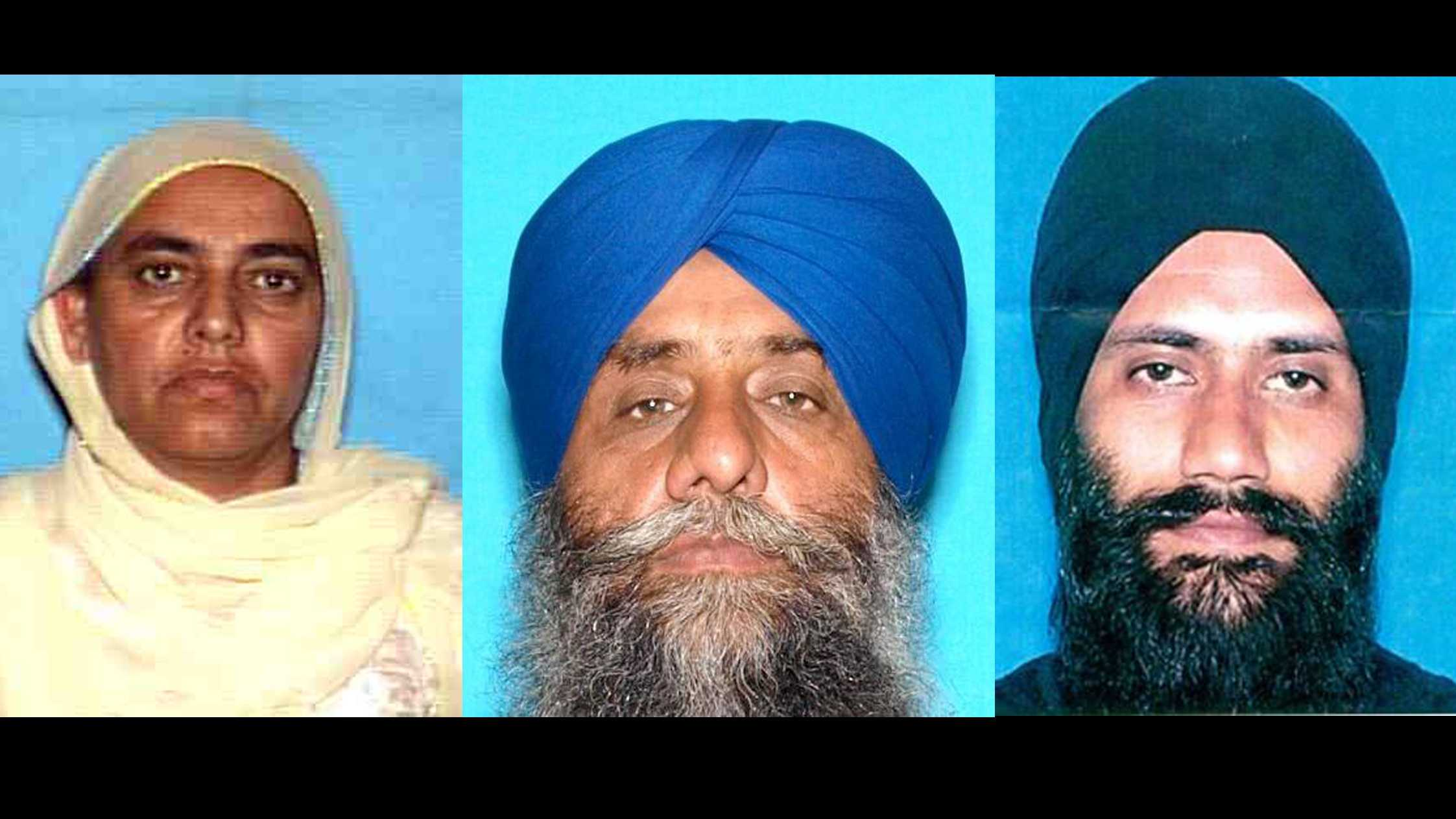 Balwinder Kaur Bagri (left), Gurdev Singh (middle) and Sandeep Singh (right) were arrested in connection to a brawl in a Sikh temple, the Turlock Police Department said.