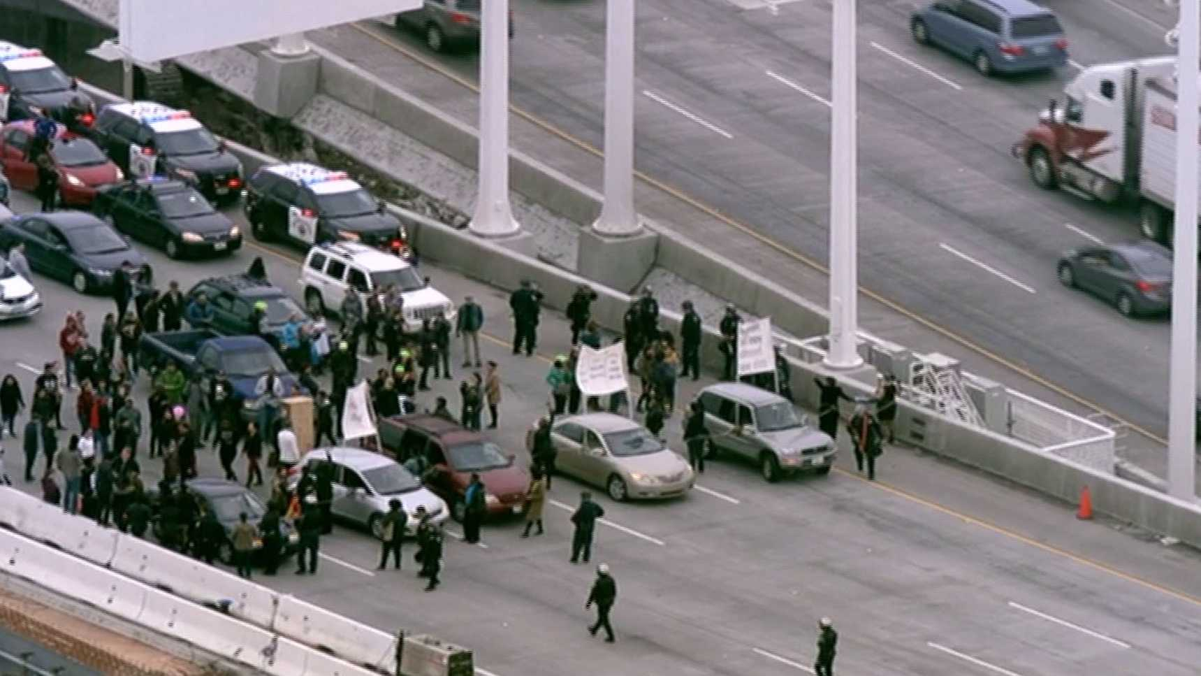 Protesters block traffic on the Bay Bridge,westbound Highway 80, on Monday, Jan. 18, 2016, as part of an MLK Day march.