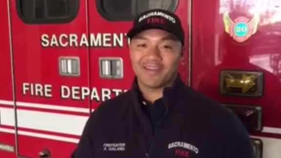 Sacramento firefighter Alex Galang returns to work on Monday after surviving fall in burning building a year ago.