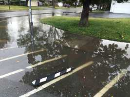 Tuesday's storm caused standing water on a street in Stockton. (Jan. 19, 2016)