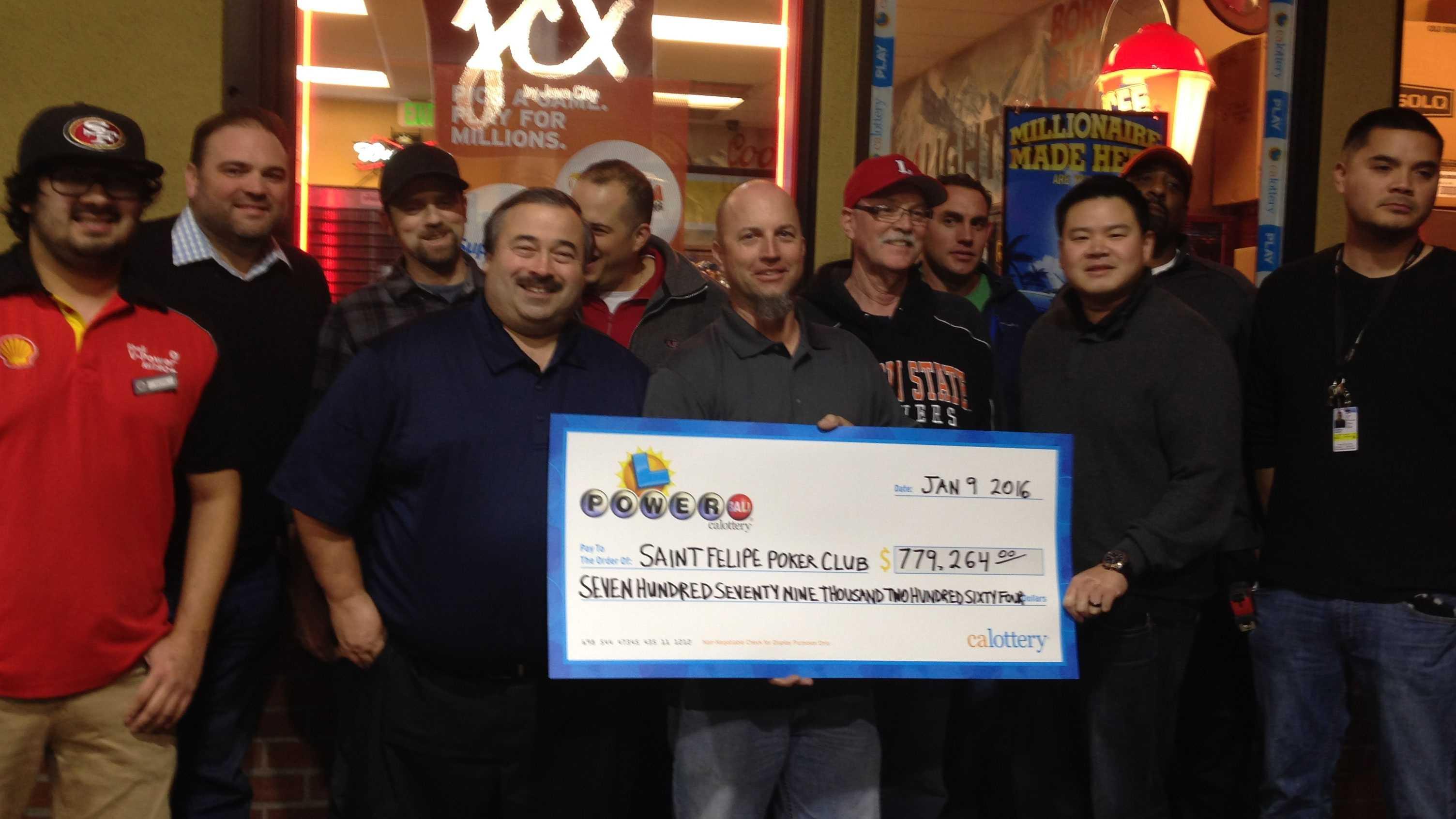 Eleven members of the St. Felipe Poker Club in Stockton won $779,264 in the Powerball lottery. (Jan. 20, 2016)