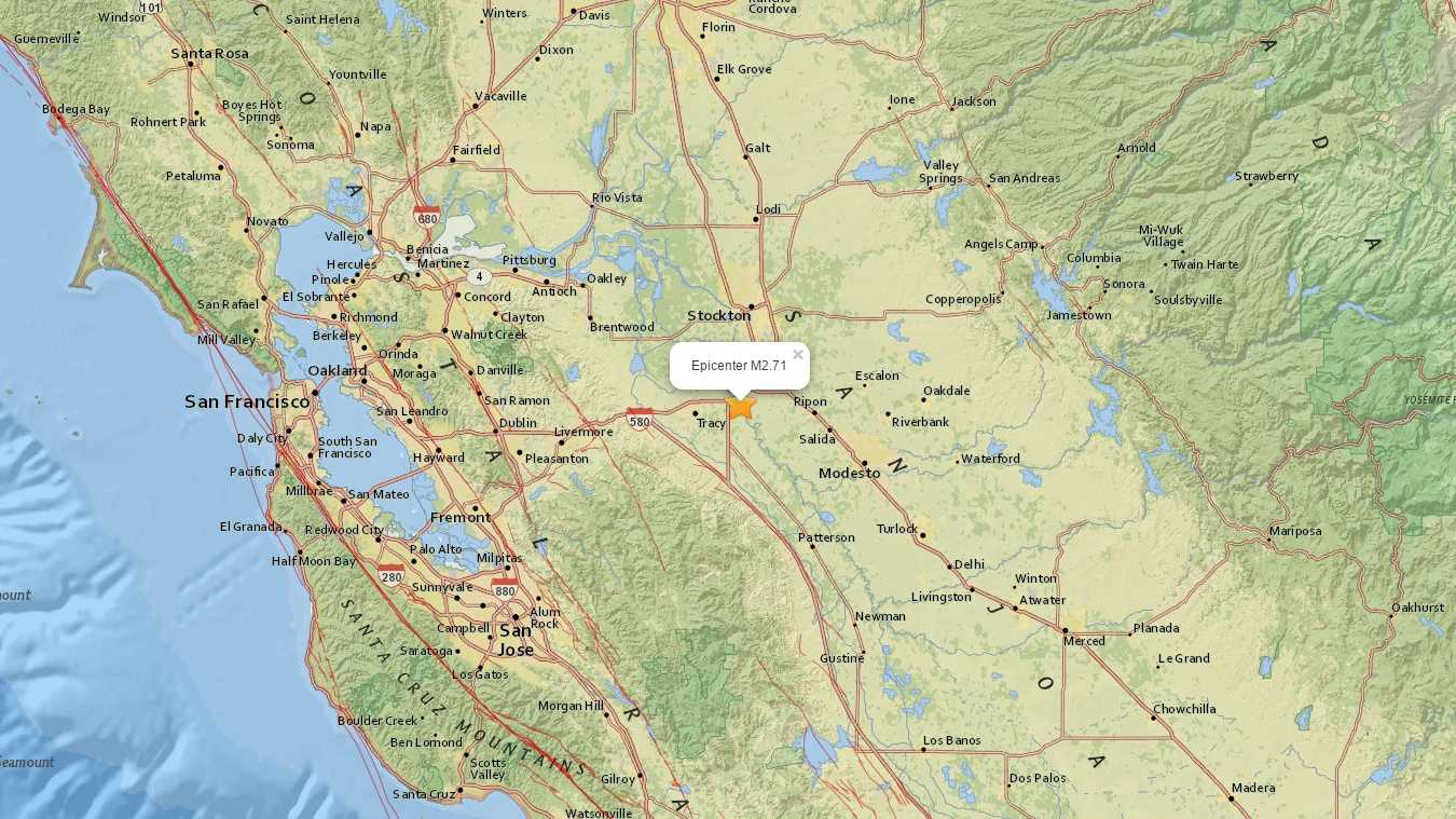 U.S. Geological Survey map shows the epicenter of an earthquake that hit near Lathrop.