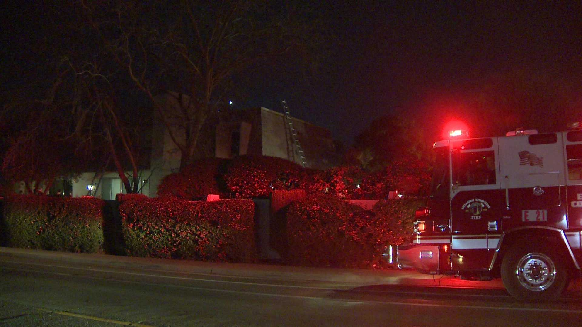 Sacramento Metro firefighters knock down a fire at a Carmichael condo on Thursday, Jan. 21, 2016.