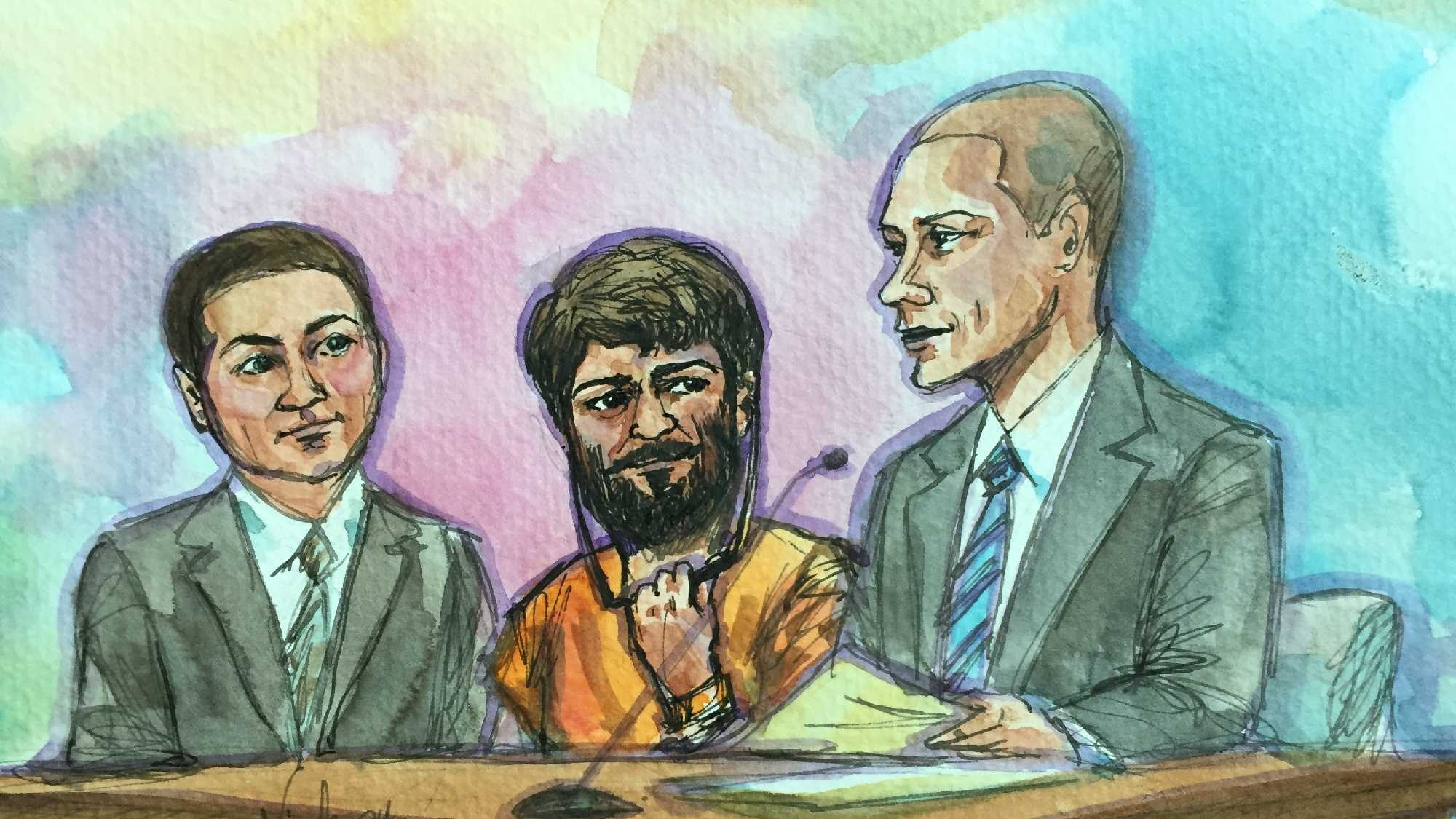 Court room drawing of Mohammed Younis Al-Jayab with his attorneys during his arraignment hearing on Friday, Jan. 22, 2016.