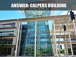 This is the CalPERS Headquarters Building, which is located on 400 Q Street. The building's design for Lincoln Plaza East and West encompasses two U-shaped wings to increase natural day lighting with a public courtyard for use by CalPERS staff and the community. (Source: https://www.calpers.ca.gov/page/home)