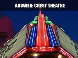 This is the Crest Theater, located on 1013 K Street. It was originally opened in 1912 as the Empress Theatre and used as a vaudeville palace. The building was completely remodeled in 1949 and revamped to its current form as the art deco Crest Theatre. (Source: http://www.crestsacramento.com/about/)